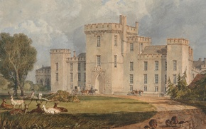 Picture road, animals, trees, landscape, castle, picture, watercolor, William Turner, View of Hampton Court, from the …