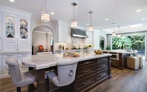 Picture design, style, furniture, Villa, kitchen, luxury, Design, wealth, lamps, cabinets, Interior, Kitchen