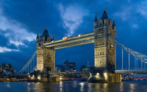 Picture the sky, river, London, the evening, UK, london, Tower bridge, Thames, Tower Bridge