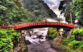 Wallpaper mountain, bridge, trees, Japan, river, greens, Tokyo, for, stones