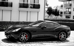 Wallpaper California, Ferrari, black, Side