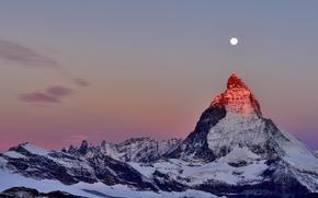Picture snow, the moon, mountain, Alps, top, twilight, peak