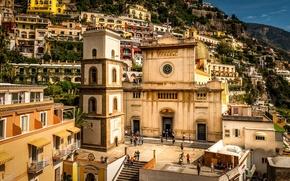 Picture mountains, people, coast, home, Italy, temple, Sunny, Amalfi Coast, Positano