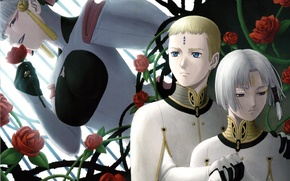Picture roses, collar, gloves, form, white hair, Last Exile, Exile, Dio Eraclea, the villain, Delphine Eraclea, …