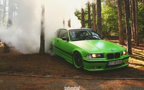 Picture green, tuning, bmw, BMW, wheels, drift, forest, smoke, tuning, power, burnout, germany, low, stance, e36
