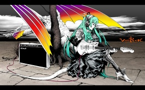 Wallpaper guitar, vocaloid, hatsune miku, Vocaloid, amplifier