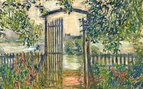 Wallpaper landscape, picture, Claude Monet, Garden Gate in Vetee