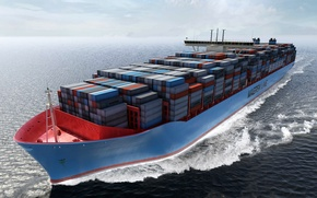Picture Graphics, On the go, Cargo, Container, Maersk, Water, Board, Tank, Case, The ship, A container ...