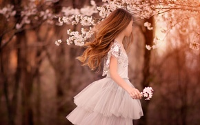 Picture spring, dress, girl, Spring, child, flowering trees, Flowering