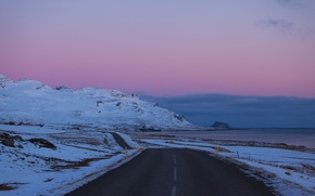 Picture road, the sky, clouds, snow, the evening, Iceland, lilac