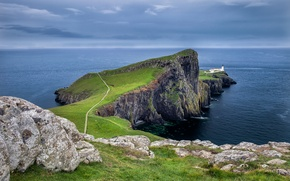 Picture road, sea, the sky, clouds, sunset, mountains, stones, lighthouse, Bay, Scotland, Scotland, Cape, Neist Point