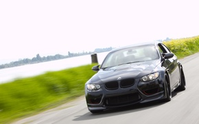 Picture road, greens, river, speed, blur, BMW, black