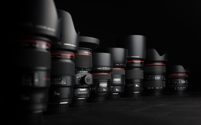 Picture black, canon, lenses, Cameras