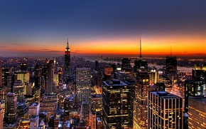 Wallpaper building, New York, skyscrapers, the evening, The city, New-York