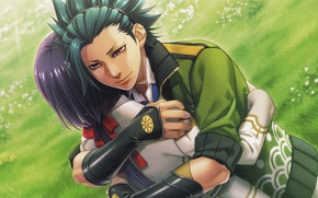 Picture grass, meadow, hugs, jacket, guy, art, visual novel, Kamigami no Asobi, Game of the gods, ...