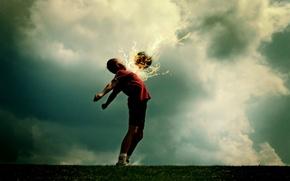 Wallpaper fiction, fire, football, the ball