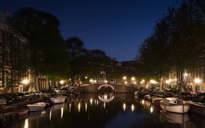 Picture machine, night, lights, reflection, street, boats, Amsterdam, lights, channel, Holland