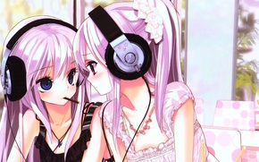 Wallpaper anime, headphones, cutie, I love it, kawaii