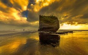 Wallpaper sea, rock, glow, tide, the sky, shore, clouds