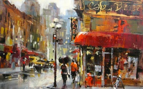Picture road, the city, rain, street, home, lights, frowning, Brent Heighton