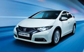 Picture Blue, White, Japan, Speed, Background, Honda, Japan, Honda, Car, Auto, White, Wallpapers, Civic, Civic, Hatchback, …