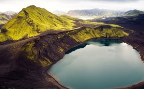 Picture the sky, grass, mountains, lake, Iceland