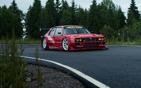 Picture The sky, Forest, Track, Lancia, Delta, 1992, Full face, Cloudy, Shrubs, EVO1, Lasupra