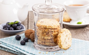 Picture blueberries, nuts, nuts, blueberries, Nut biscuits, Peanut cookies