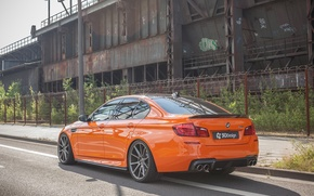Picture car, auto, BMW, sedan, tuning, orange, back, exhausts, 3D Design