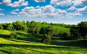 Wallpaper the sky, clouds, trees, nature, blue, valley, horizon, trees, landscape, nature, photo, green, clouds, scenery, ...