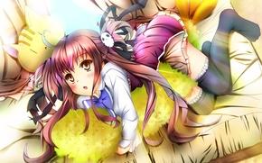 Picture look, girl, sofa, lies, pillow, anime, barrette, art, tails, Ebiten, Kanamori Hakata