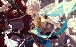 Picture anime, blazblue, swords, ragna the bloodedge, kisaragi jin, ise