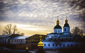 Wallpaper sunset, Church, the dome, Ukraine, Kiev, Pechersk Lavra