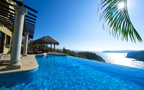 Picture sea, the sun, view, pool, resort, Mexico
