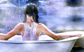 Picture girl, rain, mood, bath, installation