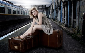 Picture girl, station, suitcases, Laura