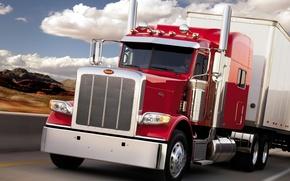 Picture road, the sky, truck, the front, truck, tractor, peterbilt, Trak, peterbelt, 388