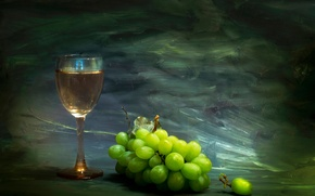 Picture paint, glass, grapes, strokes, Beyond the horizon