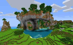 Picture mountains, tree, waterfall, minecraft