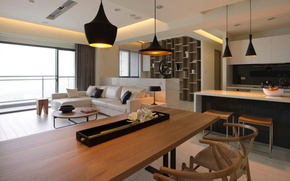 Picture living room, combining dining room kitchen, modern home