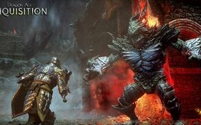 Picture sword, lava, shield, dragon age, the Inquisitor, undead, rpg, bioware, inquisition