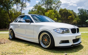 Picture drives, cars, auto, tuning, Bmw, White, bbs, casting, Bmw 135