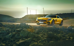 Picture Mercedes-Benz, AMG, Sun, Day, Yellow, Road, Sea, 2015, GT S