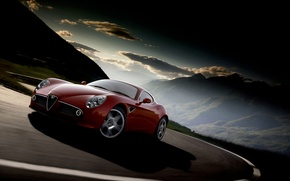 Wallpaper road, alfa romeo, clouds, mountains