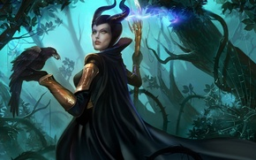 Picture forest, girl, web, art, staff, Raven, marvel, loki, maleficent