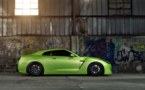 Picture Nissan, GT-R, Green, Tuning, Wheels, Garage, Window, Graphity