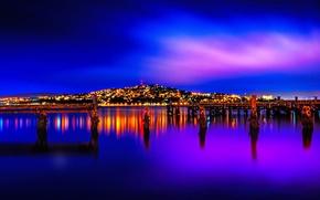 Wallpaper New Zealand, night, lights, landscape, Wellington