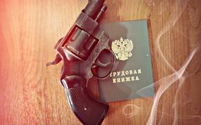 Picture gun, work, book, revolver