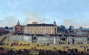 Picture picture, coach, Francesco Battaglioli, View of the Palace of Aranjuez, people, landscape