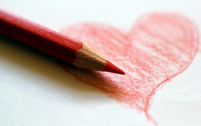 Wallpaper heart, background, pencil